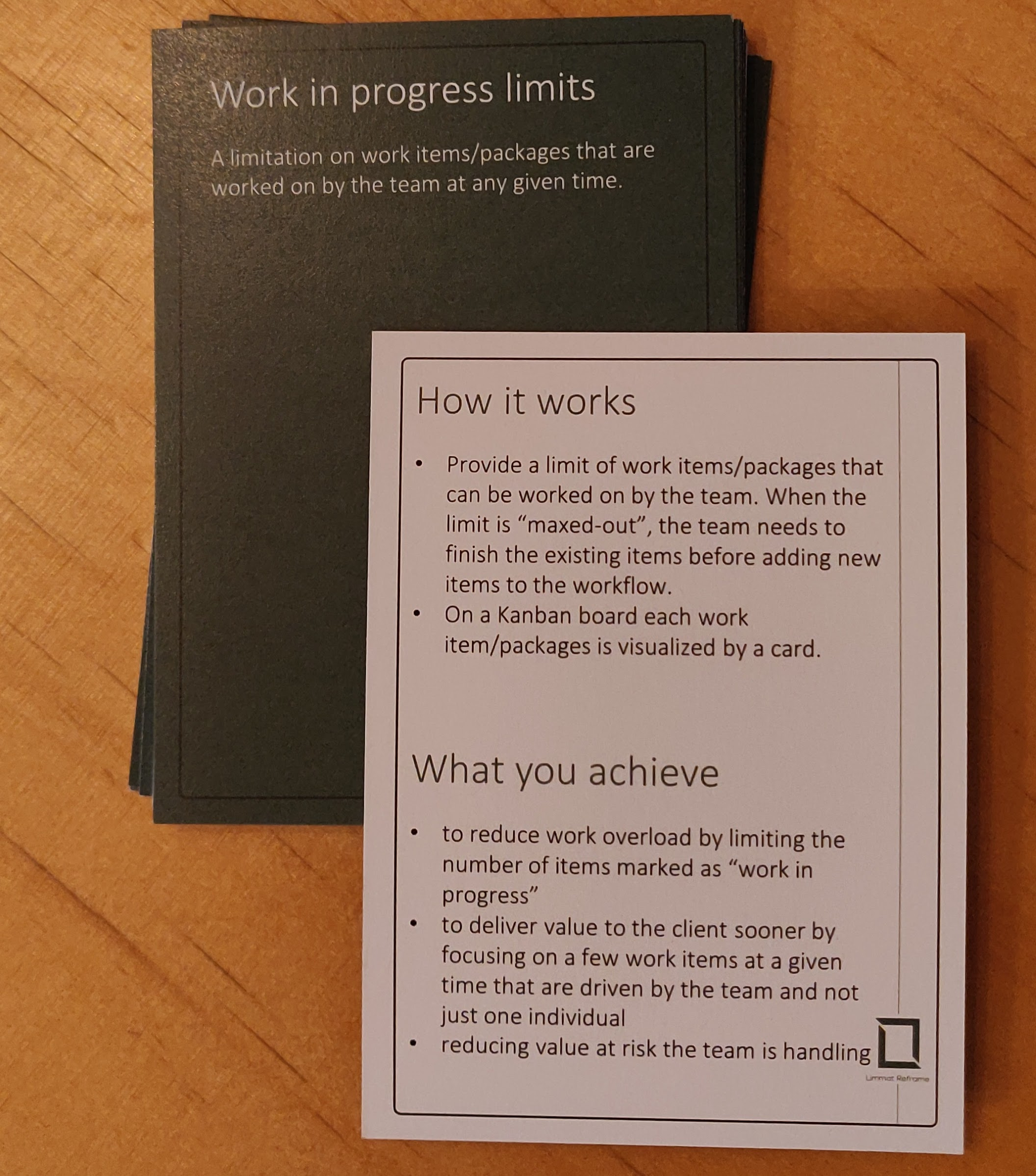 Agile Booster Deck LimmatReframe showing the WIP Limits