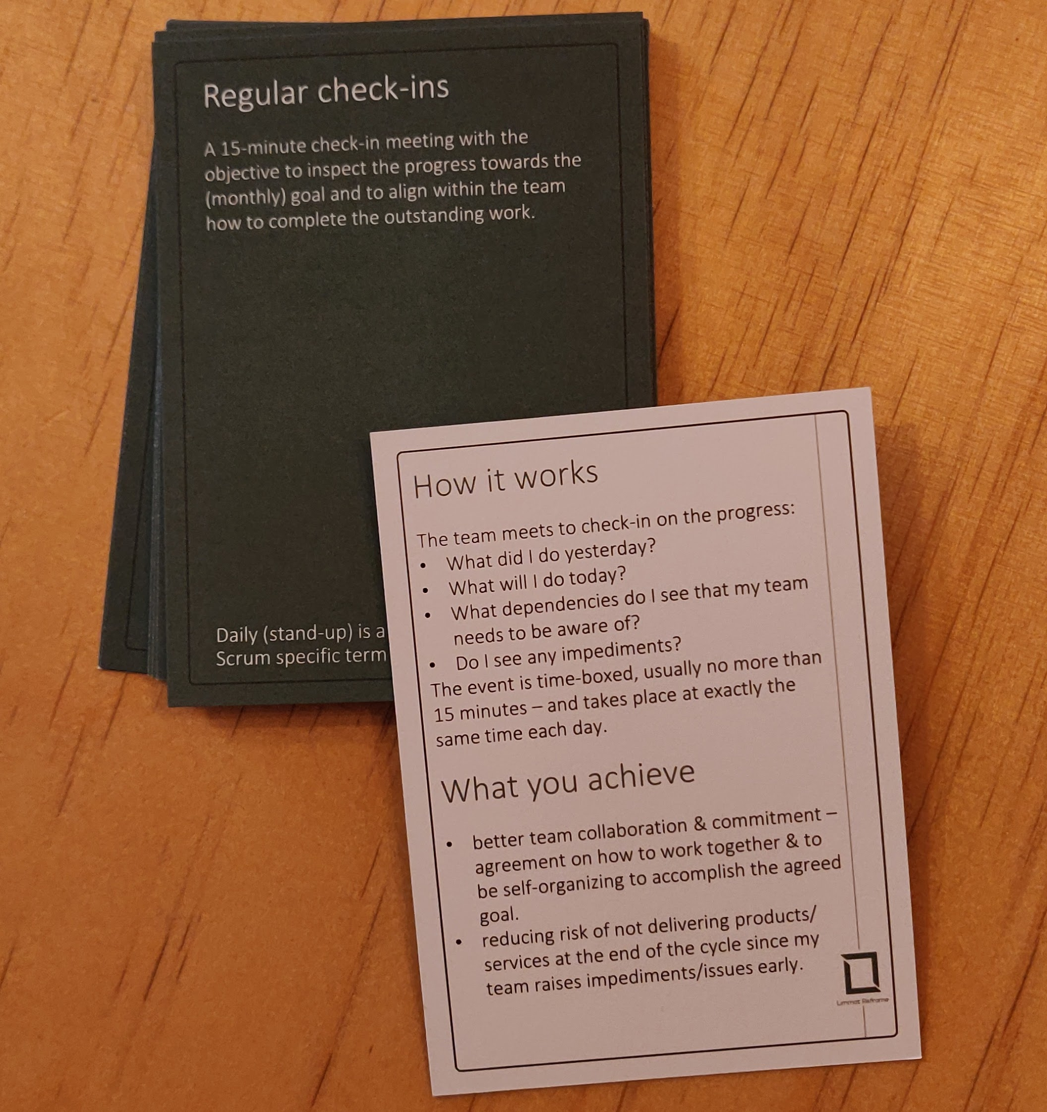 Agile Booster Deck LimmatReframe showing the Daily or Regular Check-ins