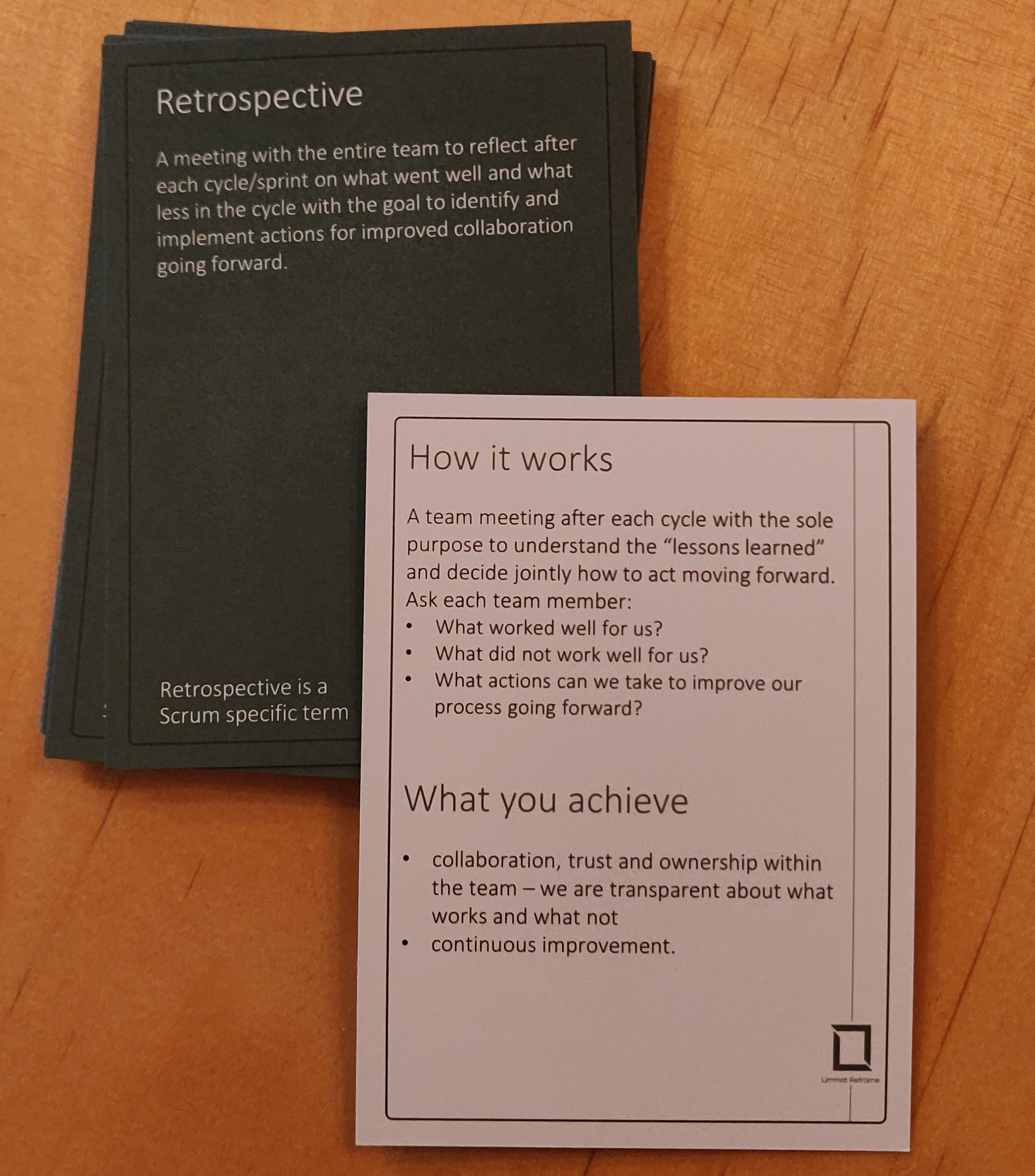 Agile Booster Deck LimmatReframe showing the Retrospective