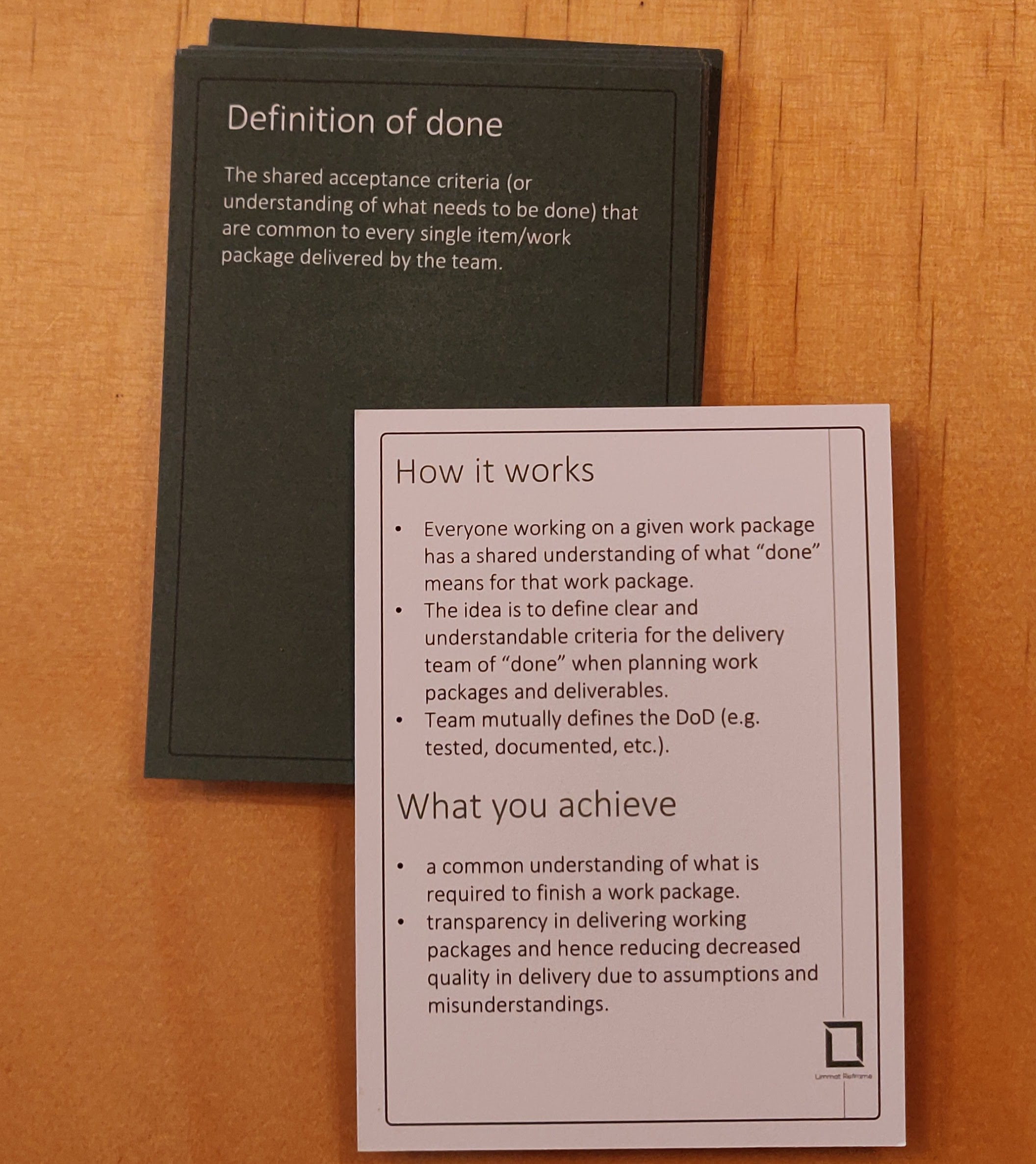 Agile Booster Deck LimmatReframe showing the Definition of Done