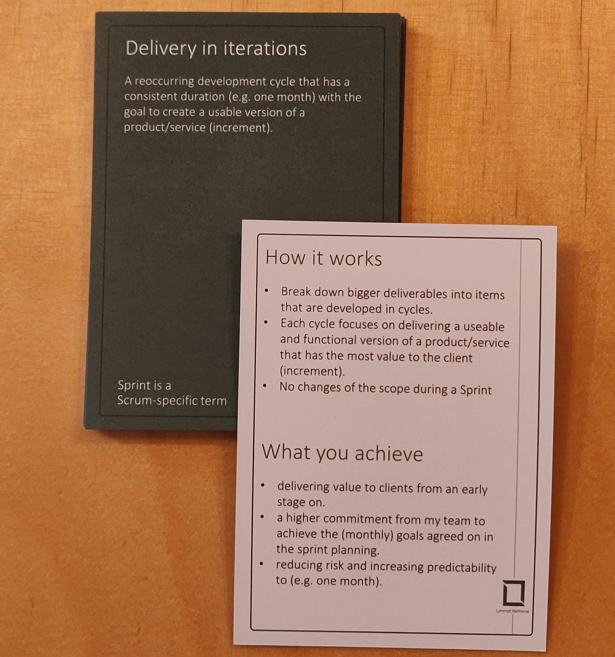Agile Booster Deck LimmatReframe showing the delivery in iterations Sprint-based delivery
